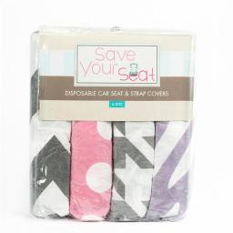 Save Your Seat 4PG01 Girl - Disposable Car Seat & Strap Covers, Pack of 4