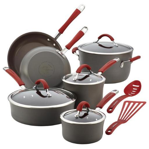 Rachael Ray 87630 Cucina Hard-Anodized Nonstick 12-Piece Cookware Set, Gray With Cranberry Red Handles