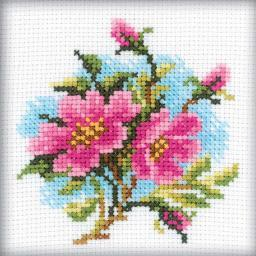 "Dog Rose Counted Cross Stitch Kit-4""X4"" 14 Count H175"