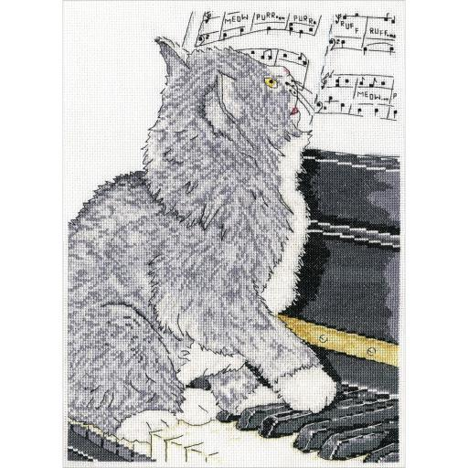 "Piano Cat Counted Cross Stitch Kit-10""X14"" 14 Count OHRVNURALVZXLMC3"
