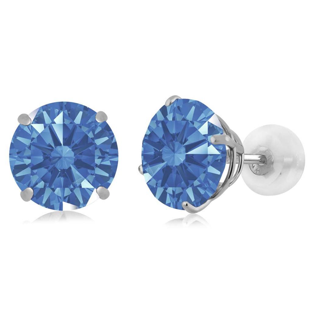 14K White Gold  Earrings Set with Round Fancy Blue Zirconia from Swarovski