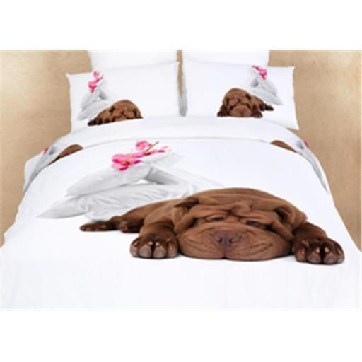 Dolce Mela DM489T Dorm Room Bedding Extra LargeTwin Fun Dog Print Duvet Covet Set