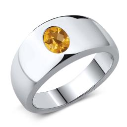 Gem Stone King 1.25 Ct Oval Checkerboard Yellow VS Citrine 925 Sterling Silver Men's Ring