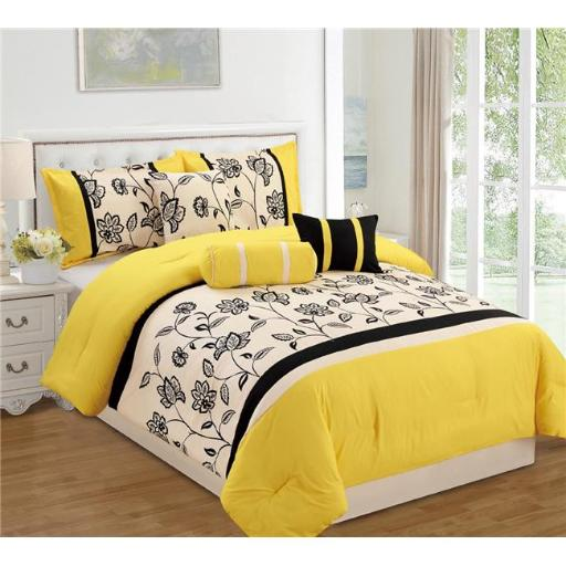 Elight Home 20859 King Chinensis Embrodiery, King Size Comforter Set - 7 Piece