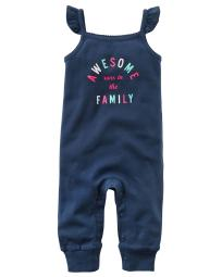 "Carter's Girls ""Awesome runs in the Family"" Jumpsuit, Navy (12 Months)"