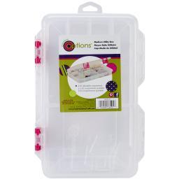 """Creative Options Pro Latch Utility Box 6-20 Compartments 10.875""""X7.25""""X1.625"""" Clear W/Magenta"""