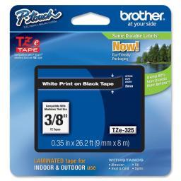 Brother international tze-325 white on black 3 8 tape