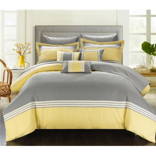 Chic Home CS3231-US Fullerton Hotel Collection Bed in a Bag Comforter Set with Sheets - Yellow - King - 10 Piece