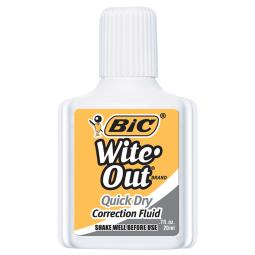 Bic usa inc bic witeout quick dry correct fluid wofqd12whi