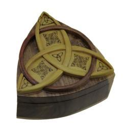 Triquetra Celtic Knots Hand Crafted Wooden Trinket/Puzzle Box