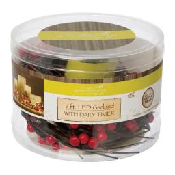 Apothecary 9366881 6 ft. Prelit Red & Brown Cranberry Garland  Red - Plastic