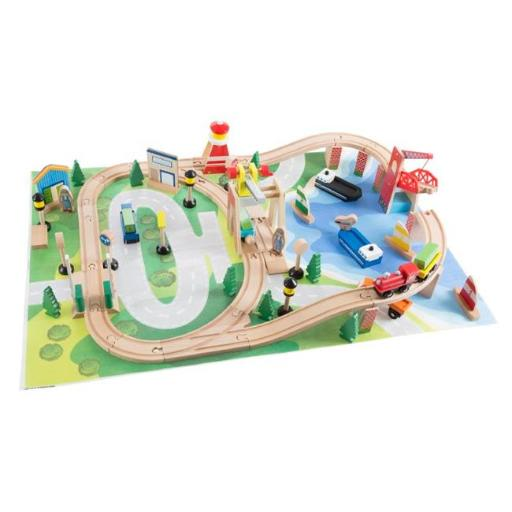 Hey Play M330037 Wooden Train Set with Play Mat for Kids