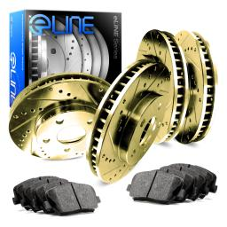 Full Kit eLine Gold Series Drill Slot Brake Rotors & Ceramic Pads CGC.75010.02