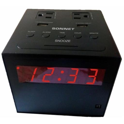 Sonnet R-1414 Power Station Clock Radio with 2 USB & 2 110 Volt Plugs