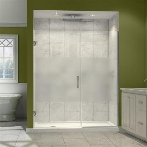 DreamLine SHDR-245457210-HFR-04 DreamLine Unidoor Plus 54-1/2 to 55 in. W x 72 in. H Hinged Shower Door, Half Frosted Glass Door, Brushed Nickel Finis