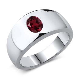 Gem Stone King 1.40 Ct Oval Red VS Rhodolite Garnet 925 Sterling Silver Men's Ring (Available 7,8,9,10,11,12,13)