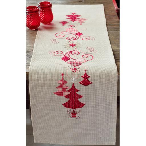 """Red Christmas Decorations Table Runner Counted Cross Stitch -11.6""""X40.8"""" 14 Count ZAAGPZVMDKAS9Y9O"""