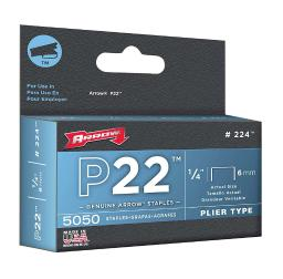 Arrow Fastener P22 7/16 in. W x 1/4 in. L 24 Ga. Medium Crown Staples 5050 pk - Case Of: 1; Each Pack Qty: 5050; Total Items Qty: 5050