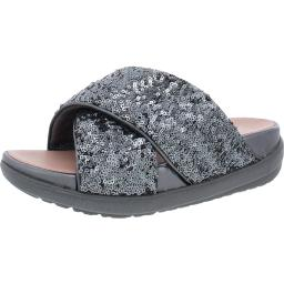 Fitflop Womens Loosh Luxe Cross Sequined Slip On Slide Sandals