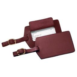Royce Leather 950-BURG-6 Classic Leather Luggage Tag - Burgundy