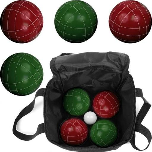 Hey Play M350109 8 x 8 in. Red & Green Regulation Outdoor Family Bocce Ball Set Game for Backyard, Lawn & Beach