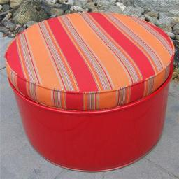 Drum Works Furniture 6010 Salsa Indoor & Outdoor Ottoman, Red & Multi Color - 13.5 x 24 x 24 in.