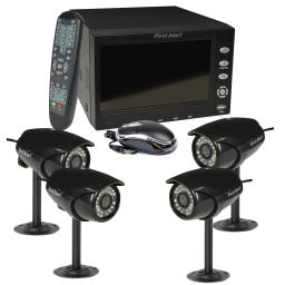 """First Alert 4 Ch DVR Security System w/ 7"""" Monitor and 4 Surveillance Cameras"""
