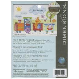 "Train Birth Record Counted Cross Stitch Kit-7""X5"" 14 Count 70-73925"