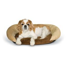 K&H Pet Products 4212 Chocolate/Tan K&H Pet Products Self-Warming Bolster Bed Chocolate/Tan 14 X 17 X 5