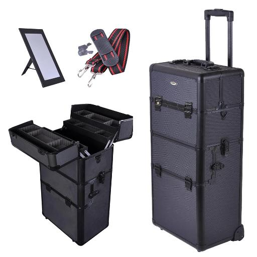 """AW 2in1 38"""" Makeup Aluminum Rolling Cosmetic Train Case Hair Style Lockable Box Black MZLKSYZF0D46IKYI"""