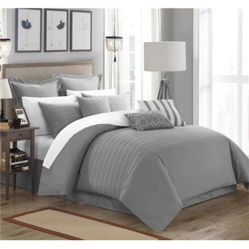 Chic Home CS3961-BIB-US 13 Piece Paddington Super Rich Microfiber Stitch Embroidered Queen Comforter Set, Grey with Sheet Set
