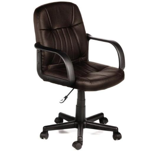 Comfort Products 60-5607M08 Mid back Leather Office Chair, Brown