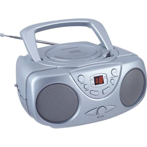 Sylvania Srcd243M Silver Portable Cd Boom Box With Am/Fm Radio (Silver)