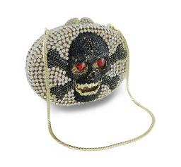Rhinestone Covered Skull and Crossbones Clutch Purse Evening Bag