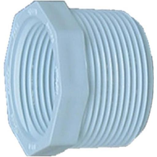 34318 0.38 in. Male Iron Pipe x 0.25 in. Female Iron Pipe Pressure PVC Threaded Bushing