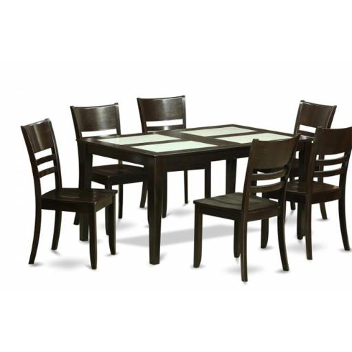 East West Furniture CALY7G-CAP-W 7 Piece Formal Dining Room Set-Glass Top Table and 6 Dining Chairs