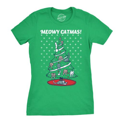 2e3adf683 Crazy Dog T-shirts Womens Meowy Christmas Cat Tree Ugly Christmas ...