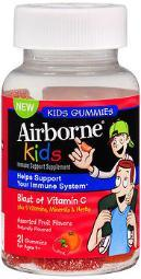 Airborne Kids Immune Support Gummies Assorted Fruit Flavors-21 Each