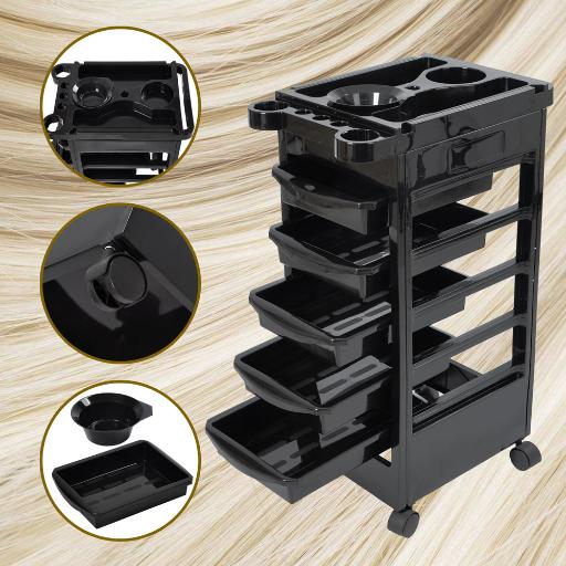 5 Layers Rolling Salon SPA Trolley Storage Cart Coloring Beauty Salon Hair Dryer Holder BSH2ZGLF3SJF3SPD
