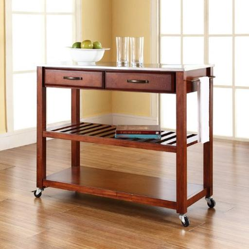 Crosley Stainless Steel Top Kitchen Cart/Island With Optional Stool Storage in Classic Cherry Finish