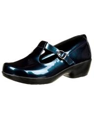4EurSole Casual Shoe Womens Leather Buckle Rubber Metallic Blue RKH274
