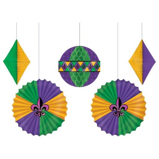 Amscan 241966 Mardi Gras Honeycomb & Fan Decorations - Pack of 5