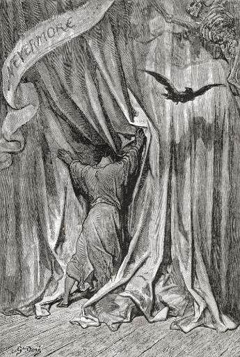 After A Drawing By Gustave Dore For Edgar Allan Poe's Poem The Raven. From Life And Reminiscences Of Gustave Dore, Published 1885. PosterPrint