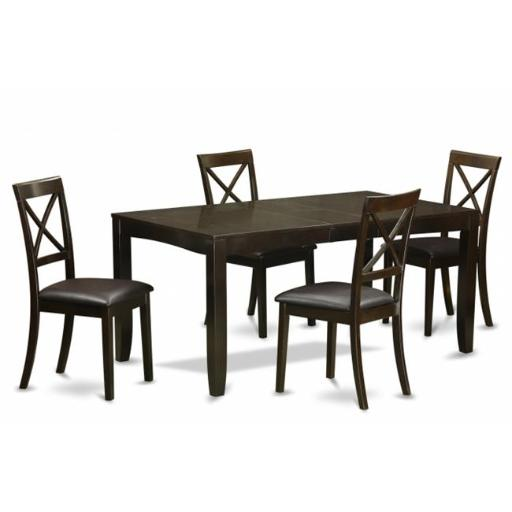 East West Furniture LYBO5-CAP-LC 5 Piece Dining Table Set-Dining Room Table With Leaf and 4 Chairs For Dining Room