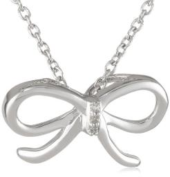 """Sterling Silver and Diamond Bow Pendant Necklace, 18"""""""