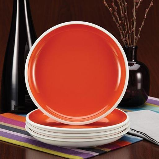 Rachael Ray Dinnerware Rise Collection 4-Piece Stoneware Salad Plate Set Orange