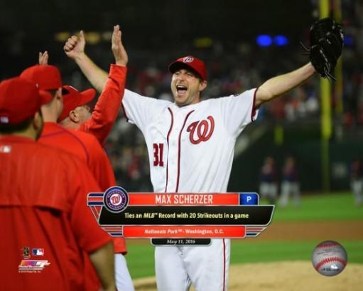 Max Scherzer celebrates tying a major league strikeout record with 20 strikeouts at Nationals Park in Washington DC, May 11, 2016 Photo Print