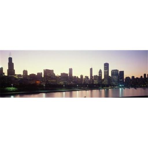 Panoramic Images PPI143737L City skyline with Lake Michigan and Lake Shore Drive in foreground at dusk Chicago Illinois USA Poster Print by Panoram