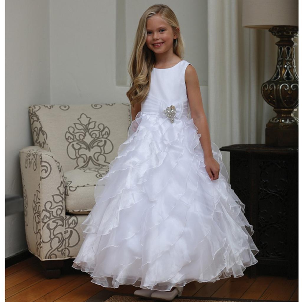 0a99bcd125e8 Angels Garment Angels Garment Little Girls White Organza Brooch Bolero  Flower Girl Dress 3-6   massgenie.com