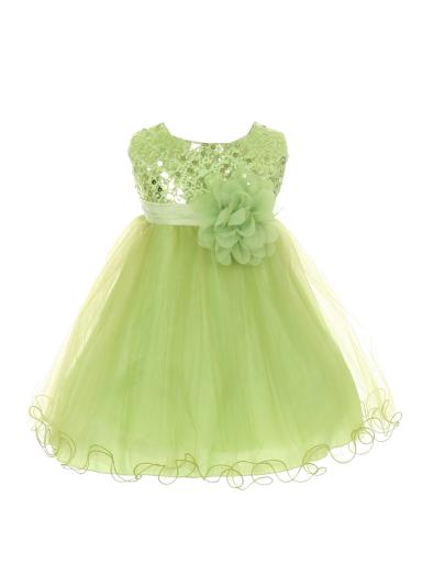 a22eed1f284 Kids Dream Baby Girls Lime Sequin Illusion Tulle Flower Girl Dress 6-24M